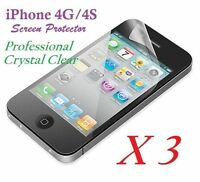 Apple iPhone 4 4S LCD Screen Protector Ultra Clear Film Retail Package X 3