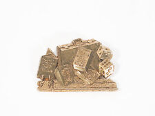SUITCASE FULL MONEY GELD KOFFER PIN GOLD VINTAGE 1980 90 HIPHOP LUCK DICE WÜRFEL