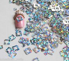 Bijoux décoration d'ongles Paillettes Nail Art CARRES Argent Holographique 6mm