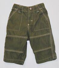 """Gymboree '""""Dig, Dig, Dig"""" Vntg Tan White Topstitched Olive Green Pants, 3-6 mos."""