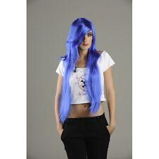 Perruque manga longue bleue raie de côté la frange sur le côté Manga costume