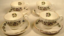 NOEL ENGLAND 4 CUPS & SAUCERS CHRISTMAS HOLLY CHILDREN