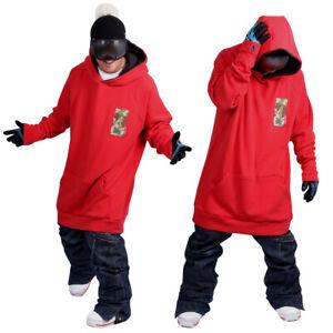December long tall hoodie ski snowboard-basic red