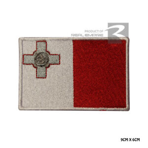 Malta National Flag Iron on Sew on Embroidered Patch Badge For Clothes Etc