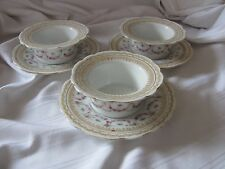 Imperial Crown China Austria 3 custard cups with saucers pink garland flowers