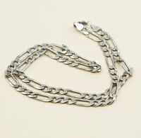 """22"""" 6mm, Vtg 925 Sterling Silver Figaro chain necklace, Stamped 925 Italy Gem"""
