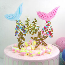 5x/set cute mermaid tails starfish corals seahorse cake toppers party supplies_F