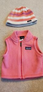 Patagonia Retro Fleece Vest Baby Girl 0 Months Pink Zip matching hat cute!