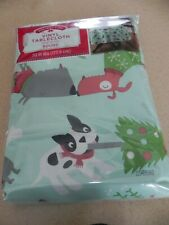 "NIP Christmas Tablecloth vinyl Cat Dog Puppy Kittley 70"" round  NEW"