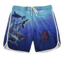 Marvel Comics Deadpool Mens Board Shorts Swimming Trunks Sz M Shark Beach A22