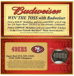 2001 BUDWEISER SUPER BOWL COMMEMORATIVE MEDALLIONS 49ERS IN ORIGINAL PACKAGE