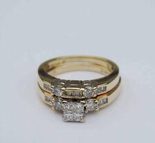 Genuine Princess Diamond Cluster Wedding Set - 1 Carat T.W. - 14K Yellow Gold