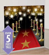 HOLLYWOOD RED CARPET movie night SCENE SETTER party 5' wall decor kit paparazzi
