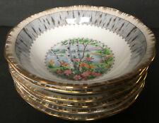 Set Of 6 Vintage Royal Albert Silver Birch Nappies Dessert Bowls