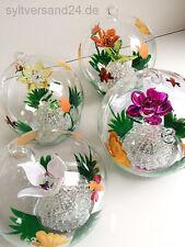 4 Stck. Glaskugel Beleuchtung Licht Floral Frühling Glas Ostern Baum Blumen Sylt