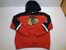 MAJESTIC CHICAGO BLACKHAWKS HOODIE YOUTH'S L RED / BLACK STITCHED LOGO