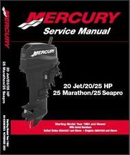 Mercury Outboard 20 Jet 20-25hp 2 Stroke OEM Factory Shop Repair Manual CD