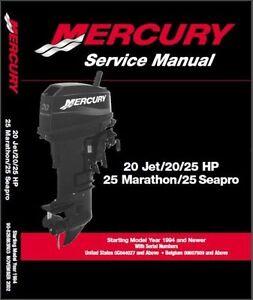 Mercury Outboard 20 Jet 20-25hp 2 Stroke OEM Service Shop Repair Manual On CD