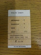 26/12/1980 Ticket: Wolverhampton Wanderers v Southampton  (complete). Footy Prog