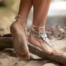 Leg Ankle Bracelet Silver Plated Coin Anklet Leg Foot Accessories Foot Jewelry