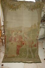 Lovely BARBOLA SWAG NEEDS WORK ANTIQUE FRENCH TAPESTRY CASTLE FIGURES MAN WOMAN