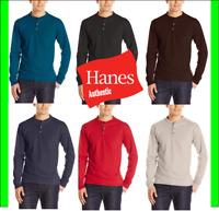 Hanes Men's Long-Sleeve Henley Shirt Beefy-T pure cotton 3 button S-3XL Tagless