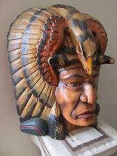 Vintage Hand-carved Wood Cigar Store Indian Bust with Eagle/Bison Headdress