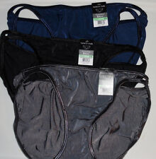3 Vanity Fair String Bikini Panty Illumination 18108 Gray Black Blue NWT Sz 8 XL