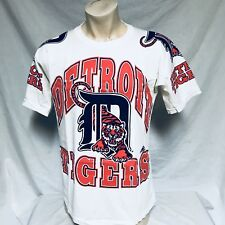 VTG 90s Detroit Tigers Apex One T Shirt All Over Print Tee MLB Baseball Large