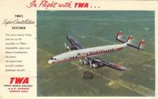 Postcard Airplane TWA Super Constellation Skyliner