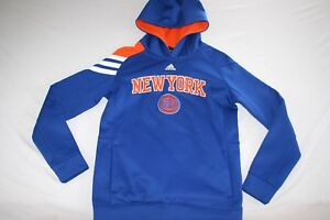 NY Knicks Hoodie Adidas Climawarm Cold Gear Youth L 14 16 Blue NEW
