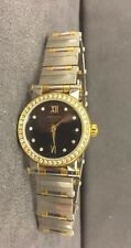 Stunning Movado Vizio Womens Two Tone Watch With Diamond Dial And Diamond Bezel