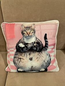 """PetPals Decorative Pillow On Sofa 17""""x17""""-""""Cat On The Scale"""""""