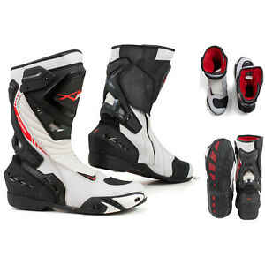 Motorcycle Boots Motorbike Sports Racing Track Road Technical Microfiber White