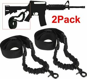 2PCS Single 1 One Point Sling Black Bungee Adjustable Tactical Black Hunting