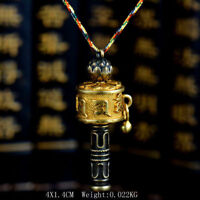 Tibetan Tibet Buddhist Vajrayana Copper Lotus OM Prayer Wheel Amulet Pendant