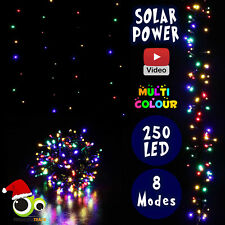250 LED Xmas Solar Powered Indoor/Outdoor Christmas Multi Colour Wedding Party