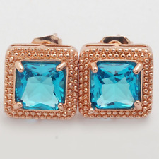 Earrings 9ct Gold GF Studs Blue Topaz 10 mm Mother Summer Holiday Gift Wedding