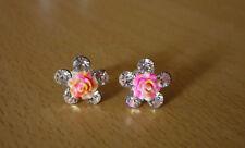 Zilverkleurige bloem oorbellen met strass-steentjes en roze-oranje roos NIEUW
