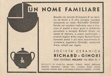 Z1070 RICHARD GINORI un nome familiare - Pubblicità d'epoca - 1934 Old advert