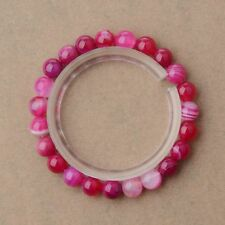 Fashion Solid Simple Bracelet WIth Pink Beaded Stretch Women Bracelet 8MM 1#