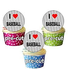 I Love Baseball - 24 Edible Circle Cupcake Toppers Cake Decorations