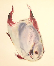 Klaus Meyer Gasters Swimming Fish Impressionist Lithograph of Watercolor #S676
