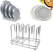 More details for commercial heavy duty pizza screen rack mesh screen stand stainless steel 4 slot
