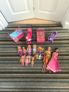 Huge Bundle Of 12 Barbie Type Simba Dolls + Cot, Pram, Bunk Bed & More.....