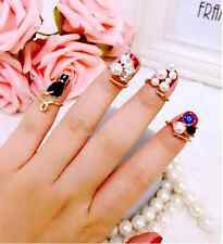 Women's Punk Crystal 3D Nail Art Midi Above Knuckle Band Finger Tip Ring New tb