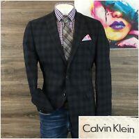Calvin Klein Mens Sport Coat Blazer Wool Two Button Sport Jacket Size 42L 2 Vent
