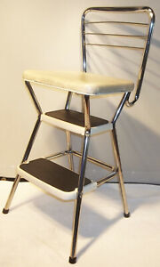 Vintage Cosco Mid-Century Modern Flip Seat Step Stool Kitchen Chair Cream EXLNT!