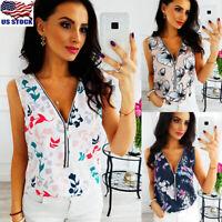 US Women Ladies Floral T Shirt Tops Summer Boho Beach Loose Tank Top Vest Blouse