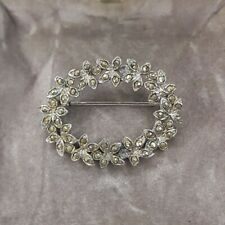 Rare Vintage Marcasite Flower Wreath Oval Brooch Silver Tone Costume Jewellery